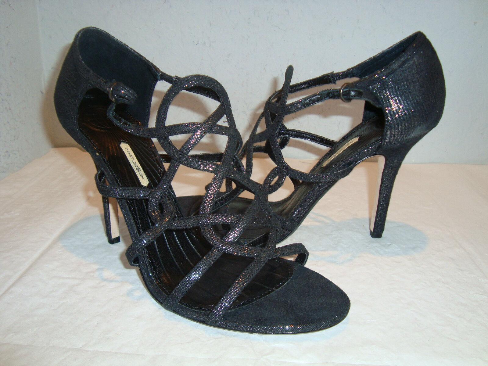 Nuevo Max Studio Negro Negro Negro Metálico Para Mujer Zapatos Sandalias De Tiras 8.5 Mediana  barato en alta calidad