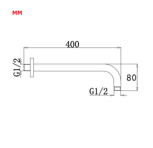 400MM Length Brass Fixed Bathroom Shower Head Arm Wall Mount arm for shower set