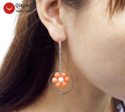 "Rose Corail /& Blanc Pearl Earring WOMEN /& 28 mm Anneau Métallique Dangle 3/"" Hoop Earring"