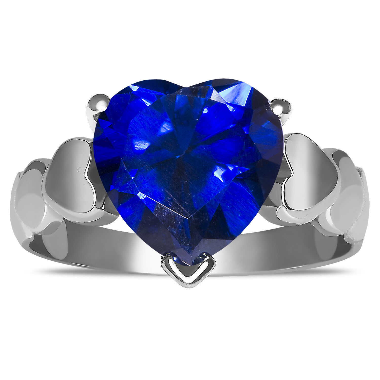 Beautiful Created Sapphire Heart Designed ShankFashion Ring in 10k pink gold