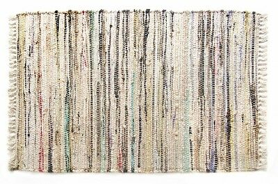 2' x  3' Country Rag Rugs in Neutral Stone Color, 100% Cotton, Hand Woven
