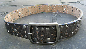 M-New-Wide-Brown-Vintage-Leather-Belt-womens-with-metal-detail-silver-buckle