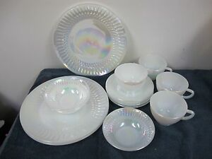 Image is loading FEDERAL-OVEN-PROOF-LUSTER-WARE-PEARL-IRIDESCENT-DINNERWARE- & FEDERAL OVEN PROOF LUSTER WARE PEARL IRIDESCENT DINNERWARE PLATES ...