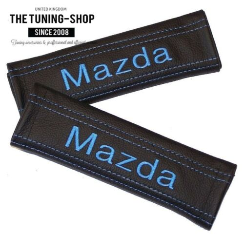 """2x Seat Belt Covers Pads Black Leather /""""Mazda/"""" Light Blue Embroidery for Mazda"""