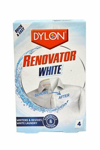 Dylon Tissu Renovator blanchisseur ranime BRIGHTNES Blanc Linge Vêtements 4 sachet