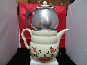 Vintage-Halls-Stove-Top-Coffee-Maker-Percolator-Dripolator-Mid-Century-Red-Poppy