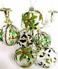 GISELA GRAHAM Christmas clear glass baubles SET of 6 hand painted holly mistleto