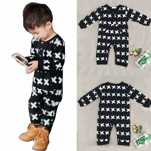 Newborn Kids Baby Boy Girl Long Sleeve Romper Jumpsuit Bodysuit Clothes Outfits