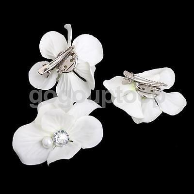 3p Bridal Wedding White Flower Hair Clip Barrette Brooch Pins Hair Accessory