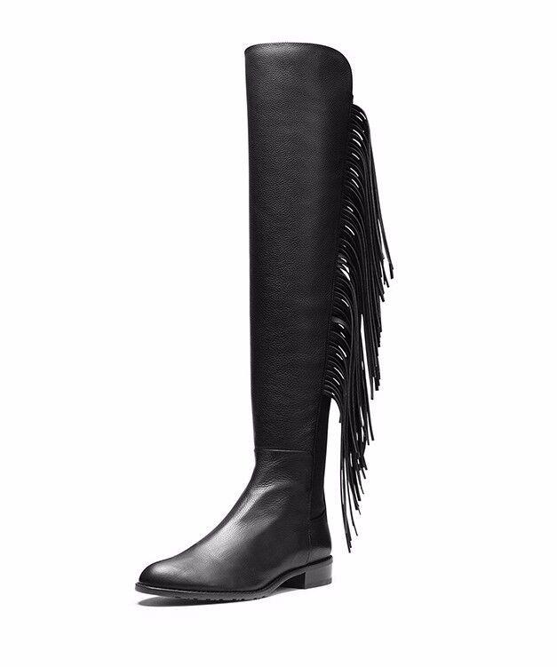 Invierno Mujer Damas Taco Flecos Sobre la Rodilla botas Taco Damas Plano Sin Cordones Negro Talla Grande 6fd28e