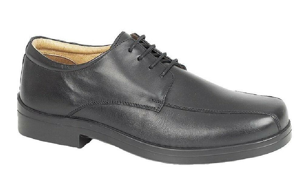 Roamers Leather SuperLite XXX Wide Lace Up Shoes Black Softie Leather