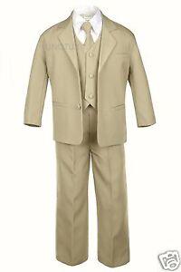 Baby Infant Toddler Kid Teen Khaki Formal Party Tuxedo 5pc Set Boy Suit sz S-20