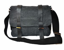 "Black Messenger Canvas Bag Macbook Laptop 13"" iPad Multi Function Satchel Case"