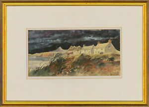 Allen-Davies-Signed-amp-Framed-2002-Watercolour-Stormy-Cliffside-View