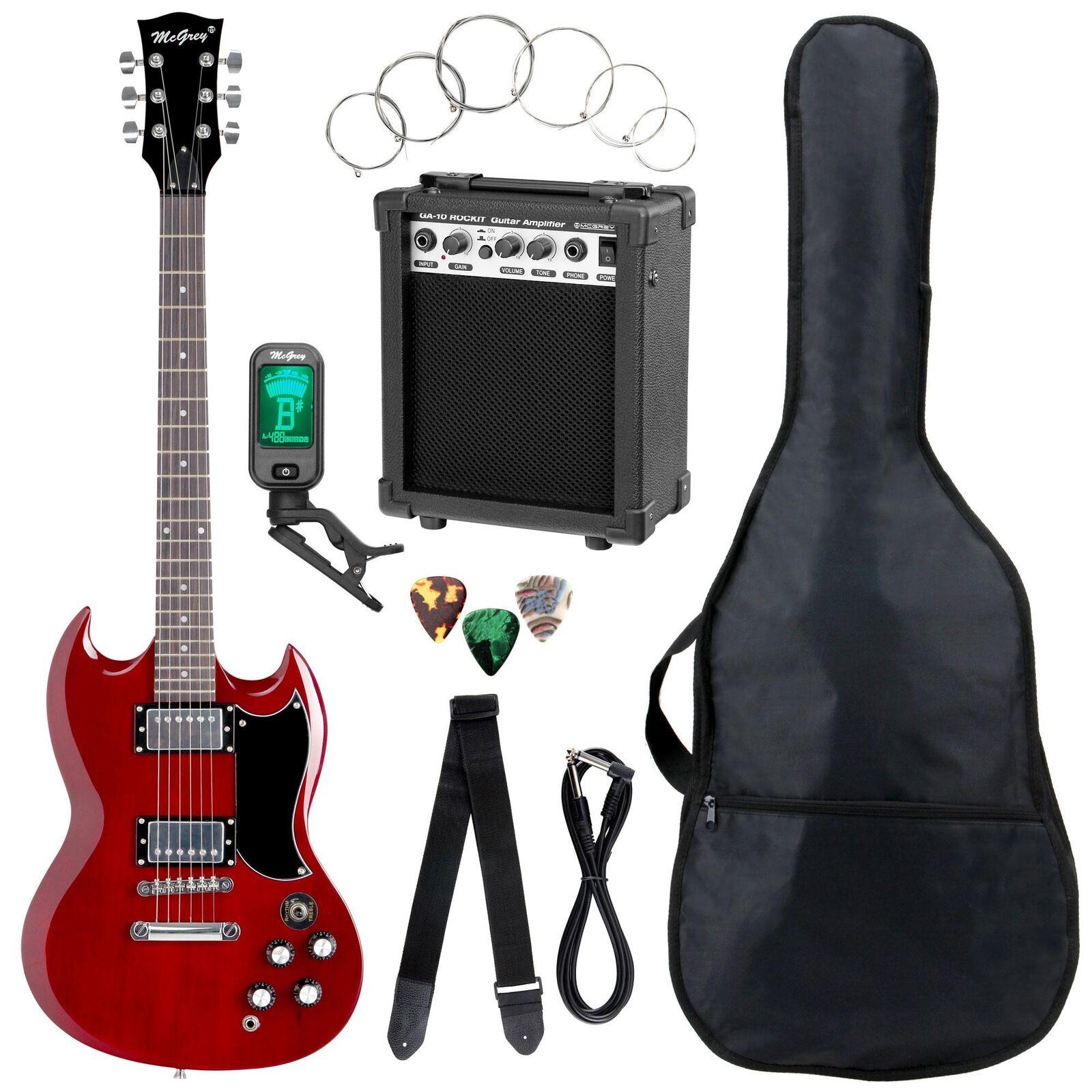 Top Einsteiger E-Gitarre Set Cherry ROT mit Verstärker, Tuner, Gigbag & Gurt