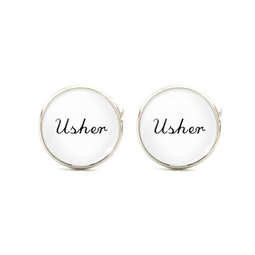 Mens WHITE Wedding Cufflinks Cuff Links Groom Bride Best Man Usher GIFT BAG