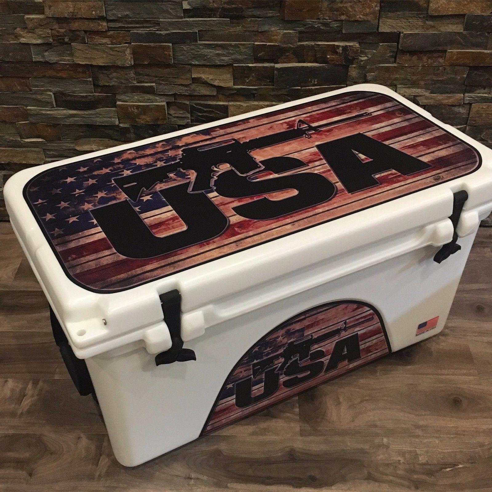 USATuff Custom Wrap Decal fits ORCA 58qt Cooler Full Niedriger USA USA Niedriger ROT Line Flag d52913