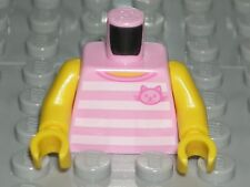 LEGO GIRL MINIFIGURE TORSO Pink Striped Cat T-shirt City Child Shirt 60134