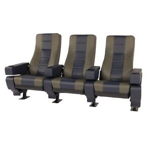 Vega Plus Commercial Movie Theater Chairs Natural Leather Two Tone Blue Gray Ebay