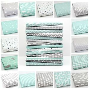 NEW-GREY-amp-MINT-100-COTTON-FABRIC-by-the-metre-CHEVRON-TRIANGLE-GEOMETRIC-dot