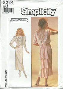 S-8224-sewing-pattern-Elegant-DRESS-back-flounce-or-fish-tail-Jessica-McClintock