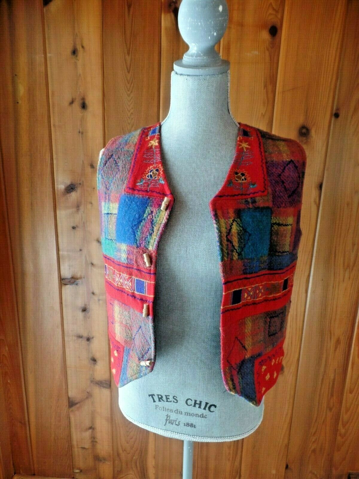 Betty Boom Wool / Cotton Vest Multicolor Size S Embroirdered