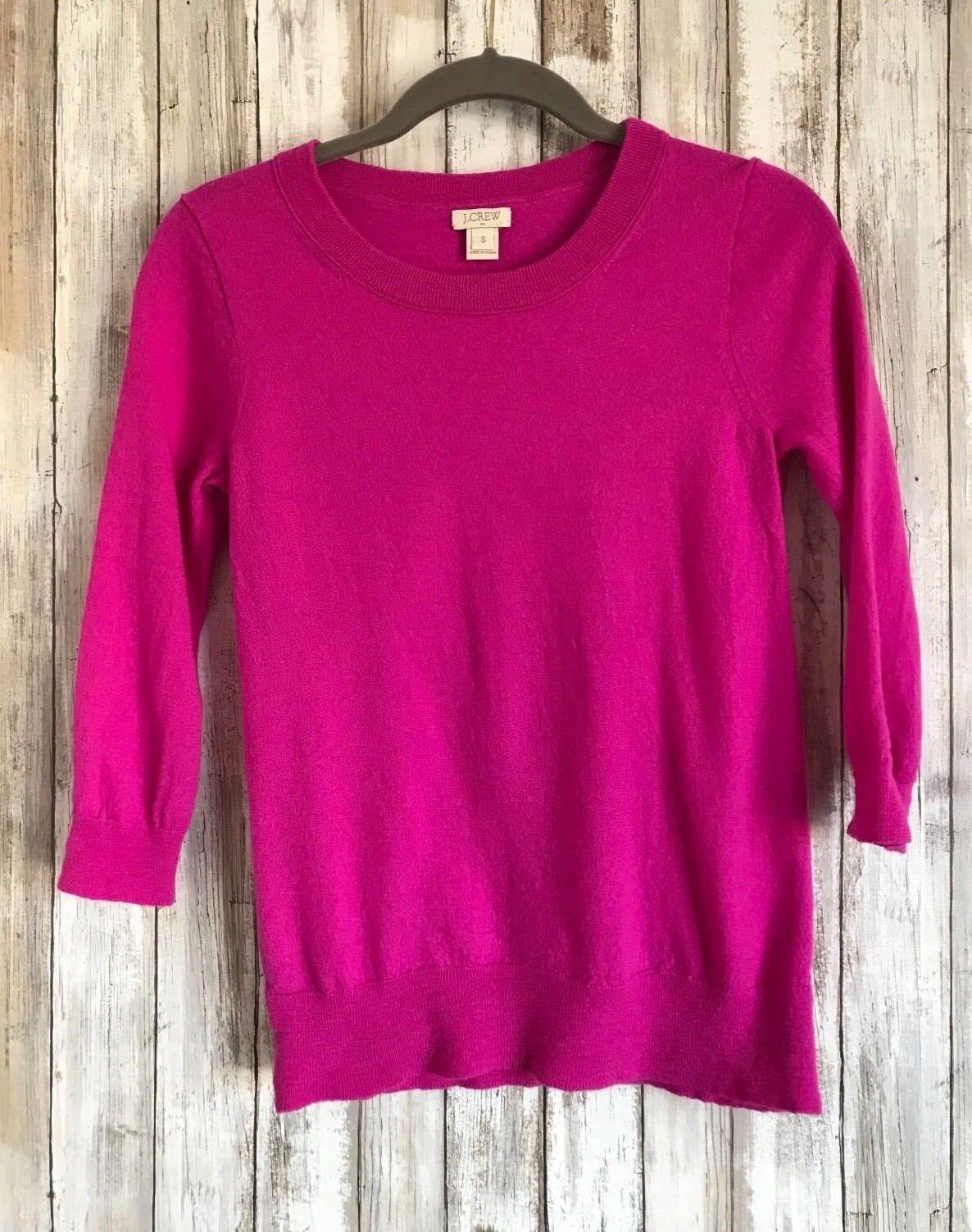 J. Crew Charley Pink Merino Wool 3 4 Sleeve Sweater S Small  CLASSIC