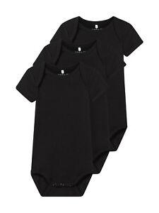 NAME-IT-3er-kurzarm-Baby-Body-Set-schwarz-uni-einfarbig-Groesse-50-bis-98