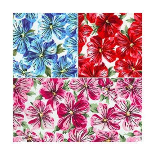 Beautiful Petals Flowers Cotton Stretch Spandex Dressmaking Craft Fabric