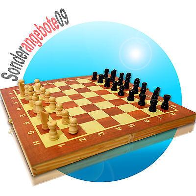 VertrauenswüRdig 3in1 Schach Dame Backgammon Brettspiel Aus Holz Größe 25x25cm Gesellschaftsspiel