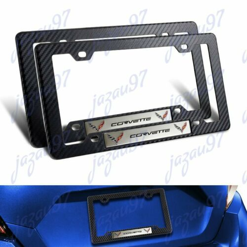 Carbon Look ABS License Plate Tag Frame Chevy Corvette C7 Car Trunk w// Emblem X2