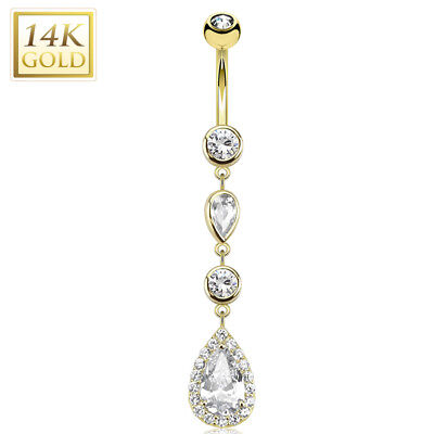 14K Solid GOLD Jeweled Heart Dangle BELLY BUTTON NAVEL RINGS Piercing Jewelry