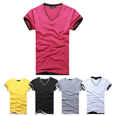 New Mens Fashion Student Casual Slim Fit V-neck T-shirts ShortSleeveTee Shirt