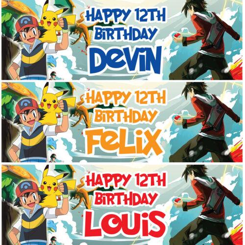 2 Personnalisé Anniversaire Bannière Anime enfants Kid Party Décoration Art Poster