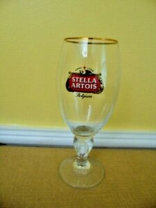 Stella-Artois-Beer-Glass-034-600-Years-of-Brewing-Expertise-034-Gold-Rim-Belgium-Goblet