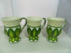 Fitz-amp-Floyd-Cape-Town-Footed-Mugs-w-Handle-Basket-Weave-Embossed-Palm-Leaves