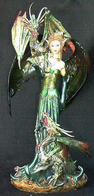 GREEN FAIRY  with  Dragon and Translucent Wings   Statue Figurene 9.5""