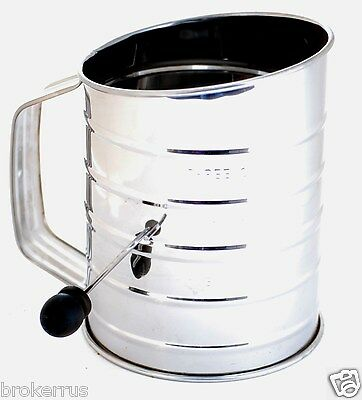 Bakeware Kitchen & Dining 3 Cup Flour Sifter for Baking Stainless ...