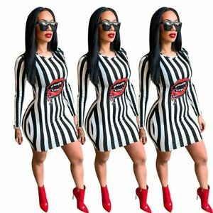 NEW-Women-Round-Neck-Stripes-Red-Lips-Print-Long-Sleeve-Bodycon-Club-Mini-Dress