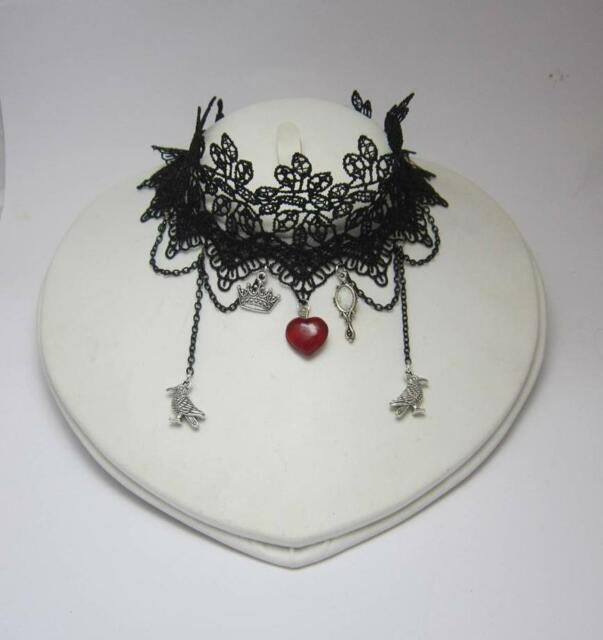 Evil Queen gothic choker with black lace red glass heart snow white mirror raven
