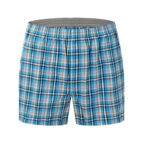 Men's Casual Shorts Plaid Printed Pouch Underpants Soft Undershorts Boxer Brief
