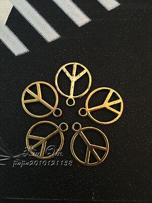 "PJ304/ 20pc Tibetan Gold Bead Charms Peace Symbol ""☮"" Jewelry Findings Wholesale"
