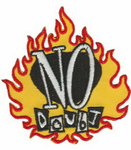 "NO DOUBT Flame Sew On Iron On Embroidered Patch 3/""x2.7/"""