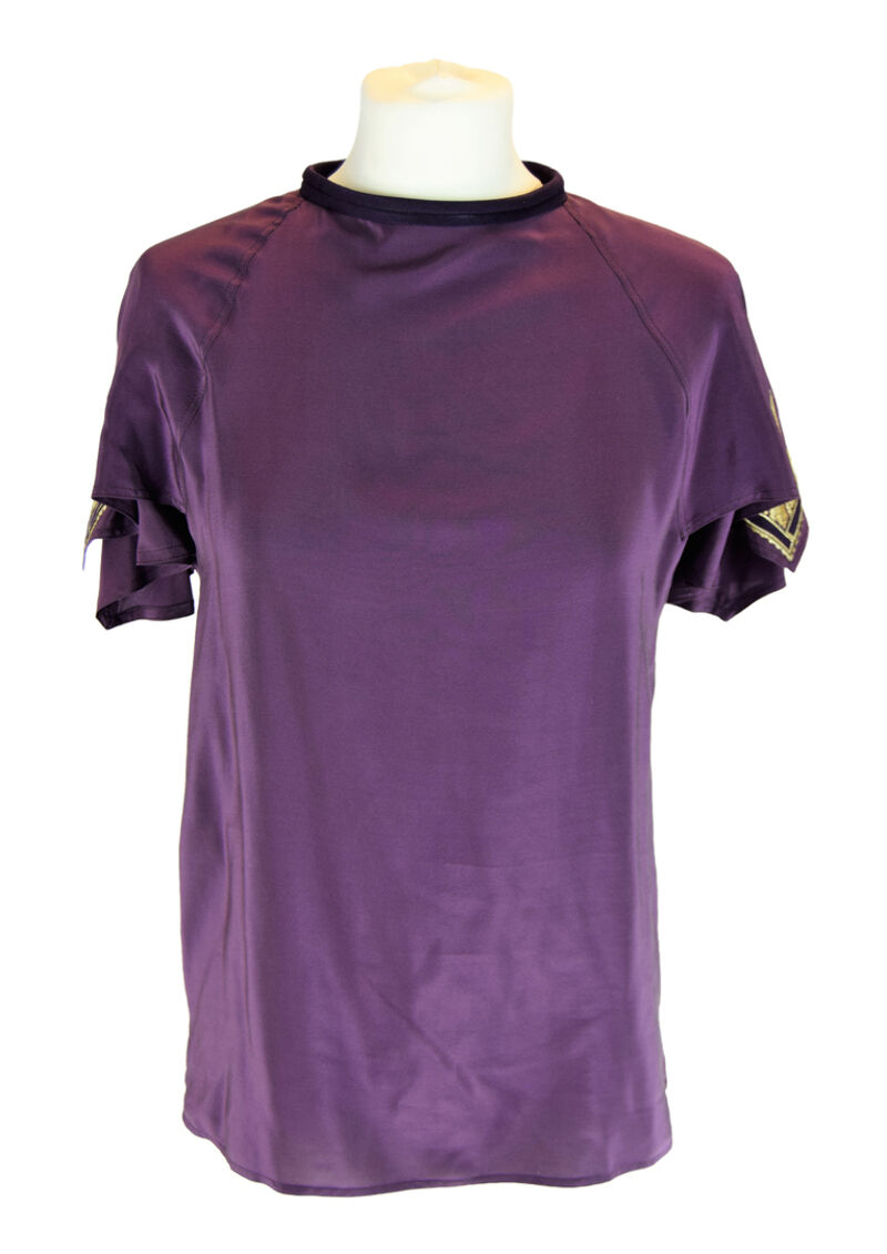 GIANNI VERSACE Purple Embroidered Short Sleeved Top, US 4