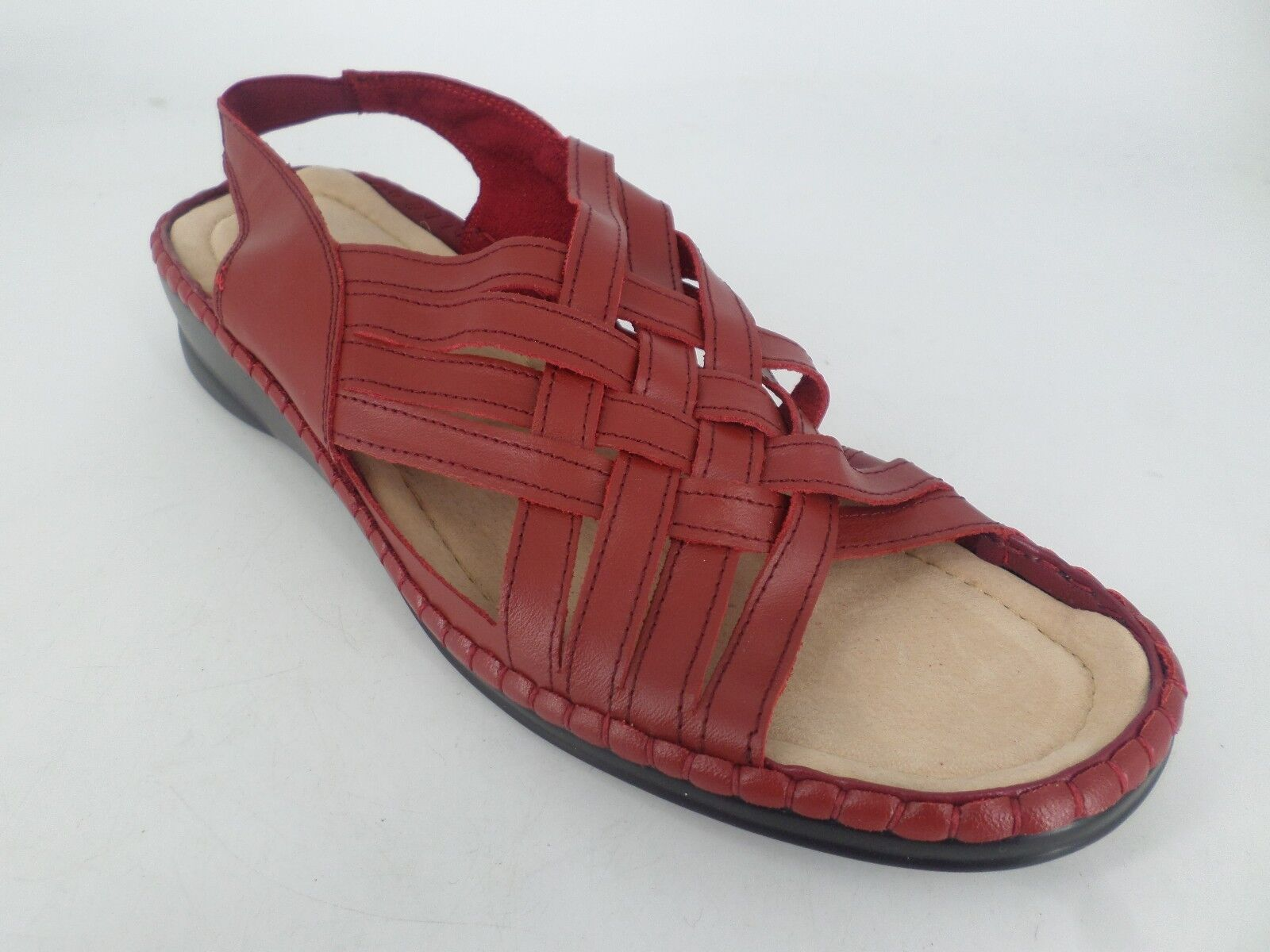 Ladies Leather Woven Slingback Sandals Red UK 6 EU 39 LN084 EE 03