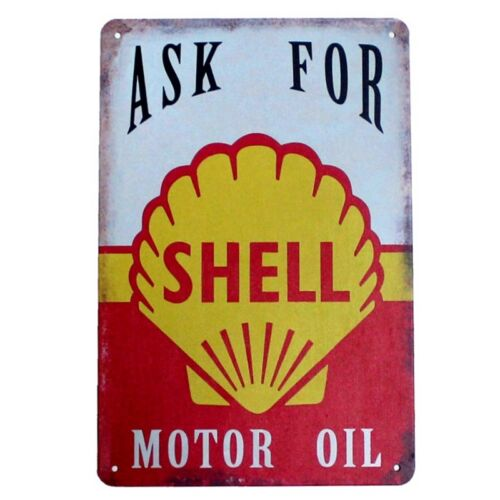 Metal Tin Sign shell motor oil Decor Bar Pub Home Vintage Retro Poster Cafe ART