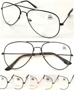 L3025B-Classic-Bifocal-Specs-Aviator-Pilot-Style-Double-Bridge-Reading-Glasses
