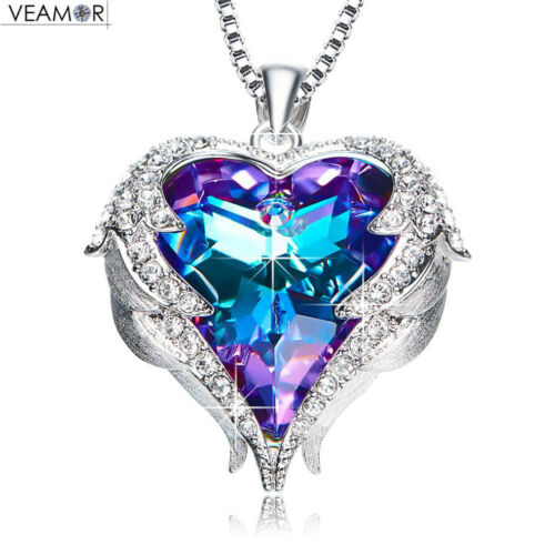 Angel Wings Original Crystal Heart Necklace Gift For Women Jewelry Free Shipping