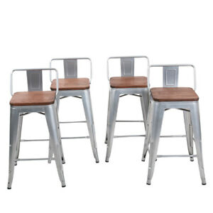 Phenomenal Details About 4 Bar Stools 26 Metal Counter Height Barstool Chair Low Back Wooden Top Silver Squirreltailoven Fun Painted Chair Ideas Images Squirreltailovenorg