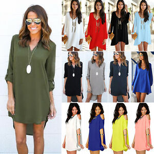 Women-Chiffon-Summer-Casual-Long-Tops-Blouse-T-Shirt-Cocktail-Party-Mini-Dress